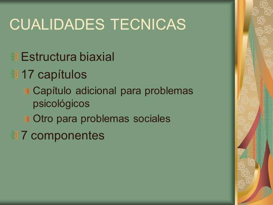 CUALIDADES TECNICAS Estructura biaxial 17 capítulos 7 componentes