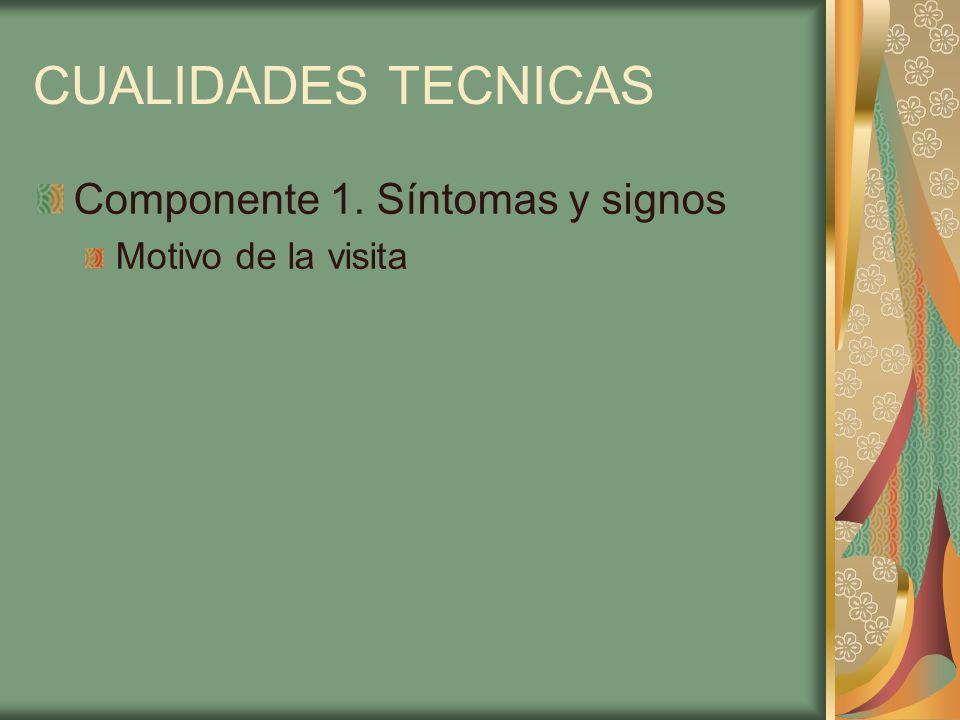 CUALIDADES TECNICAS Componente 1. Síntomas y signos