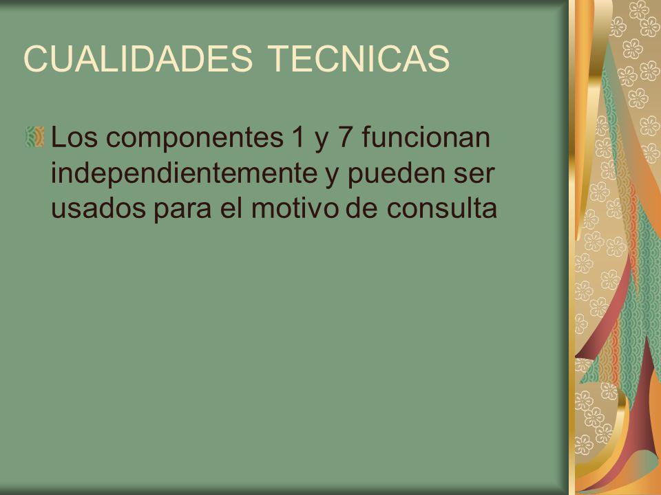 CUALIDADES TECNICAS Los componentes 1 y 7 funcionan independientemente y pueden ser usados para el motivo de consulta.