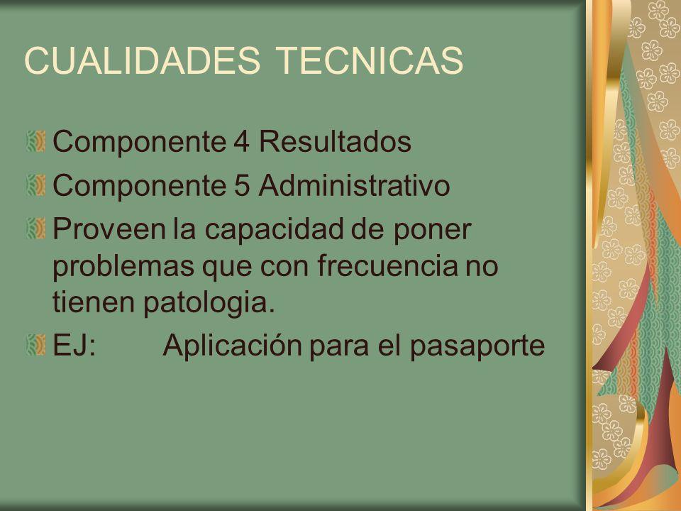 CUALIDADES TECNICAS Componente 4 Resultados