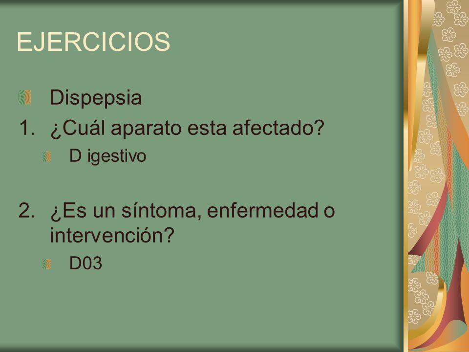 EJERCICIOS Dispepsia ¿Cuál aparato esta afectado