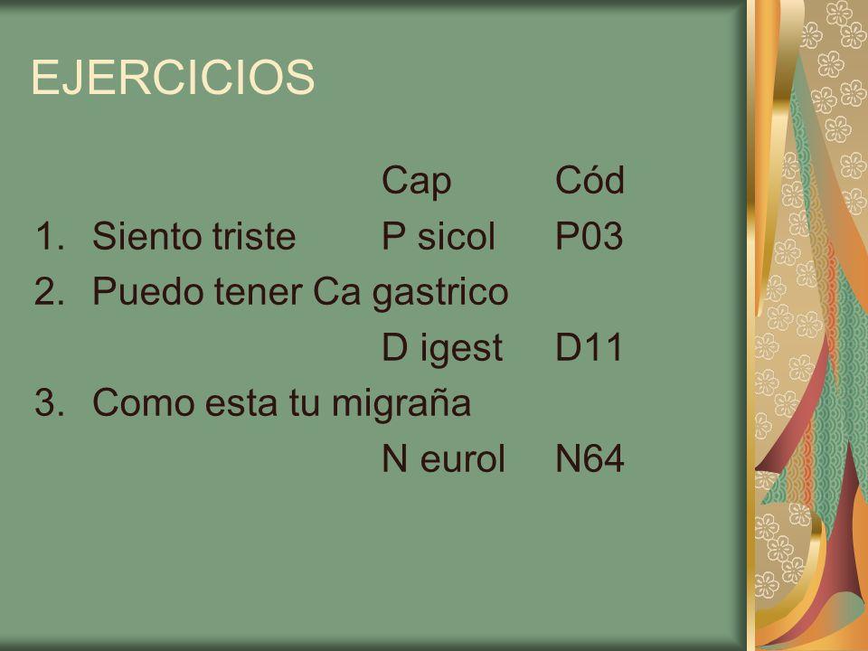 EJERCICIOS Cap Cód Siento triste P sicol P03 Puedo tener Ca gastrico