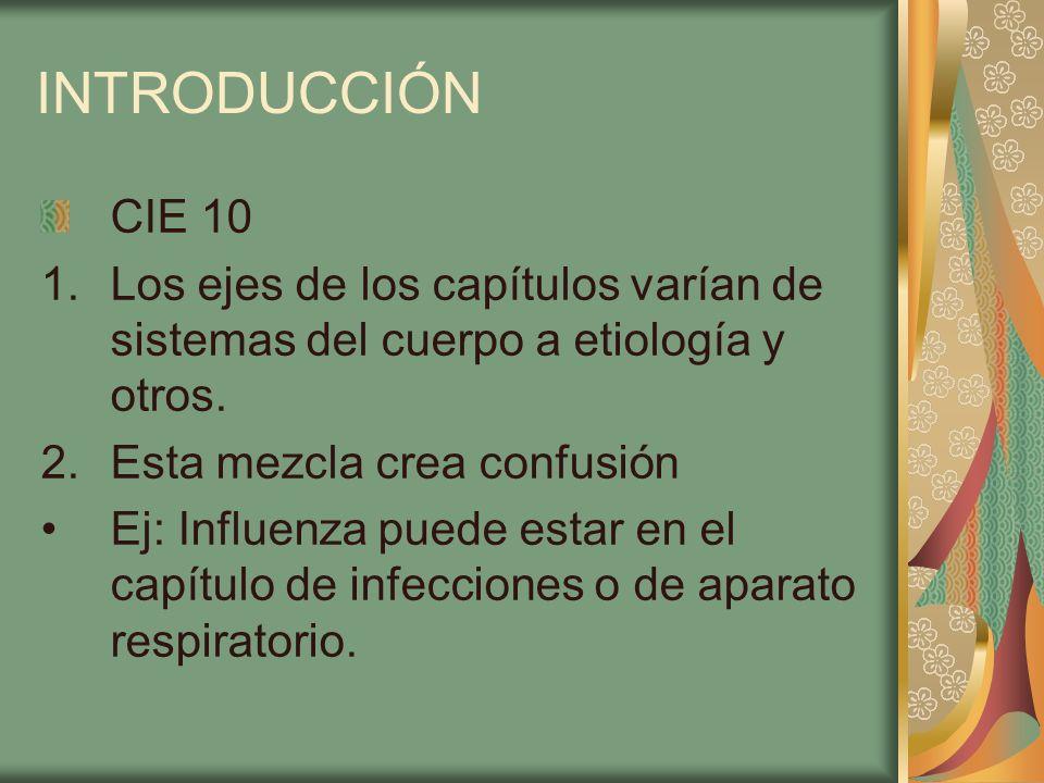 INTRODUCCIÓN CIE 10. Los ejes de los capítulos varían de sistemas del cuerpo a etiología y otros. Esta mezcla crea confusión.