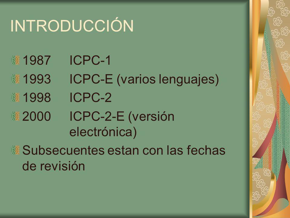 INTRODUCCIÓN 1987 ICPC-1 1993 ICPC-E (varios lenguajes) 1998 ICPC-2