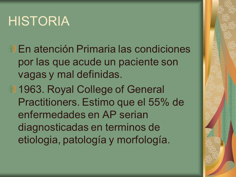 HISTORIA En atención Primaria las condiciones por las que acude un paciente son vagas y mal definidas.