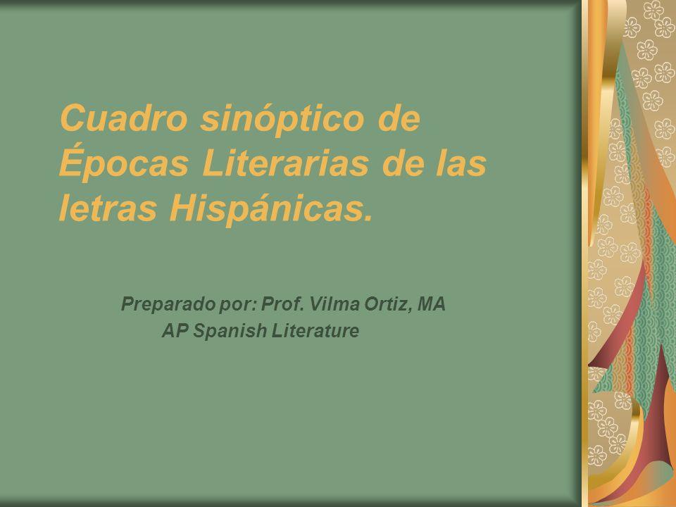 Cuadro sinóptico de Épocas Literarias de las letras Hispánicas