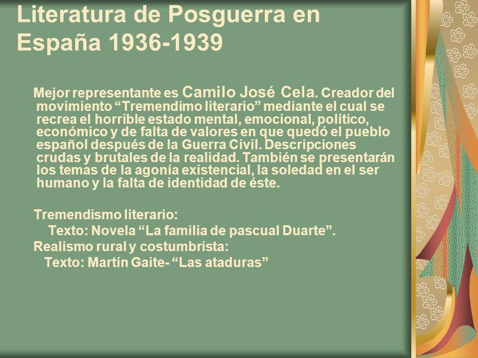 Literatura de Posguerra en España 1936-1939