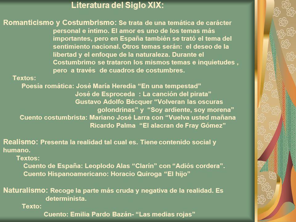 Literatura del Siglo XIX: Romanticismo y Costumbrismo: Se trata de una temática de carácter personal e íntimo.