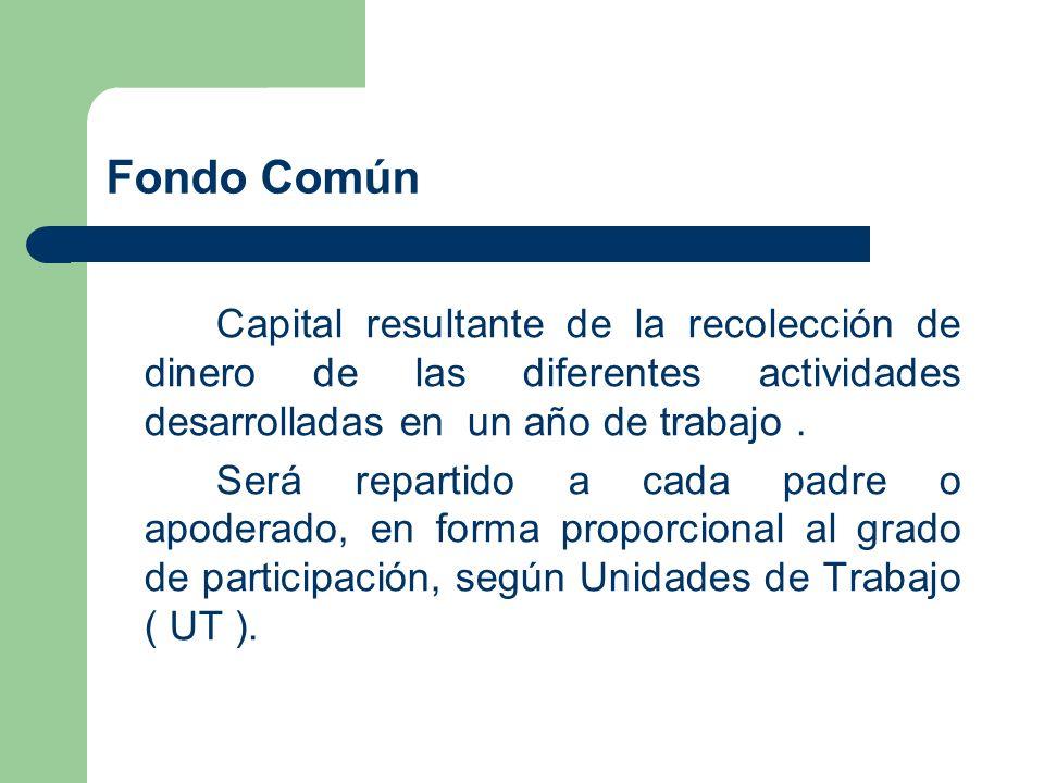 Fondo ComúnCapital resultante de la recolección de dinero de las diferentes actividades desarrolladas en un año de trabajo .