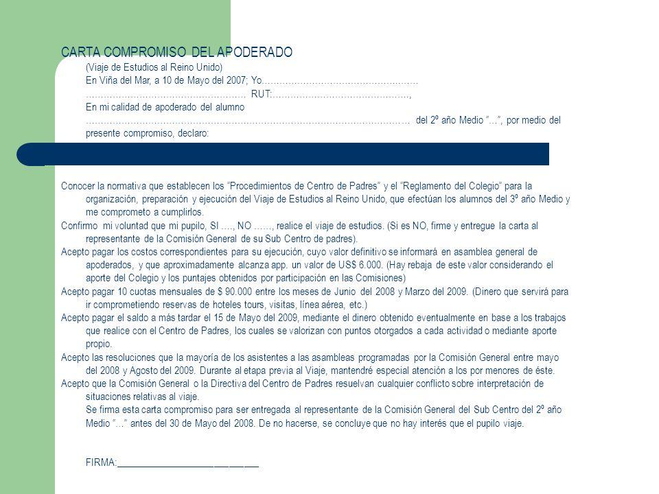 CARTA COMPROMISO DEL APODERADO