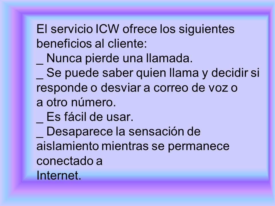 El servicio ICW ofrece los siguientes beneficios al cliente: _ Nunca pierde una llamada.