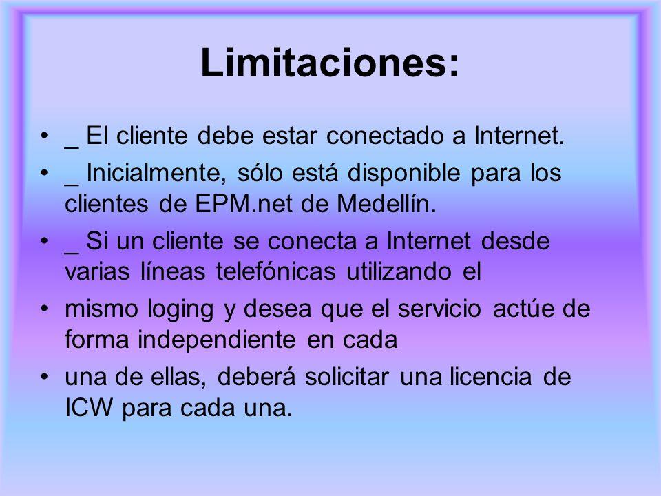 Limitaciones: _ El cliente debe estar conectado a Internet.