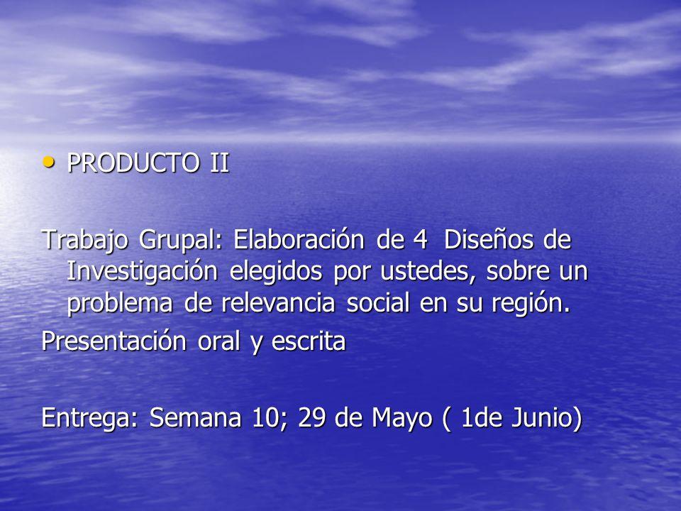 PRODUCTO II Trabajo Grupal: Elaboración de 4 Diseños de Investigación elegidos por ustedes, sobre un problema de relevancia social en su región.