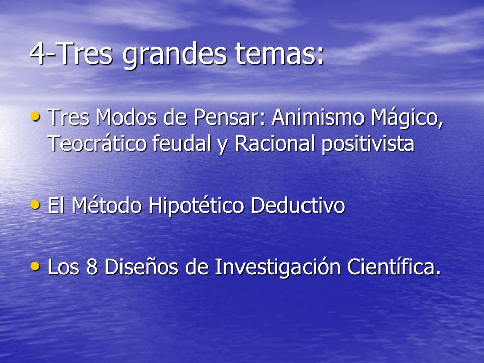 4-Tres grandes temas: Tres Modos de Pensar: Animismo Mágico, Teocrático feudal y Racional positivista.