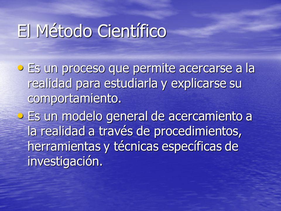 El Método Científico Es un proceso que permite acercarse a la realidad para estudiarla y explicarse su comportamiento.