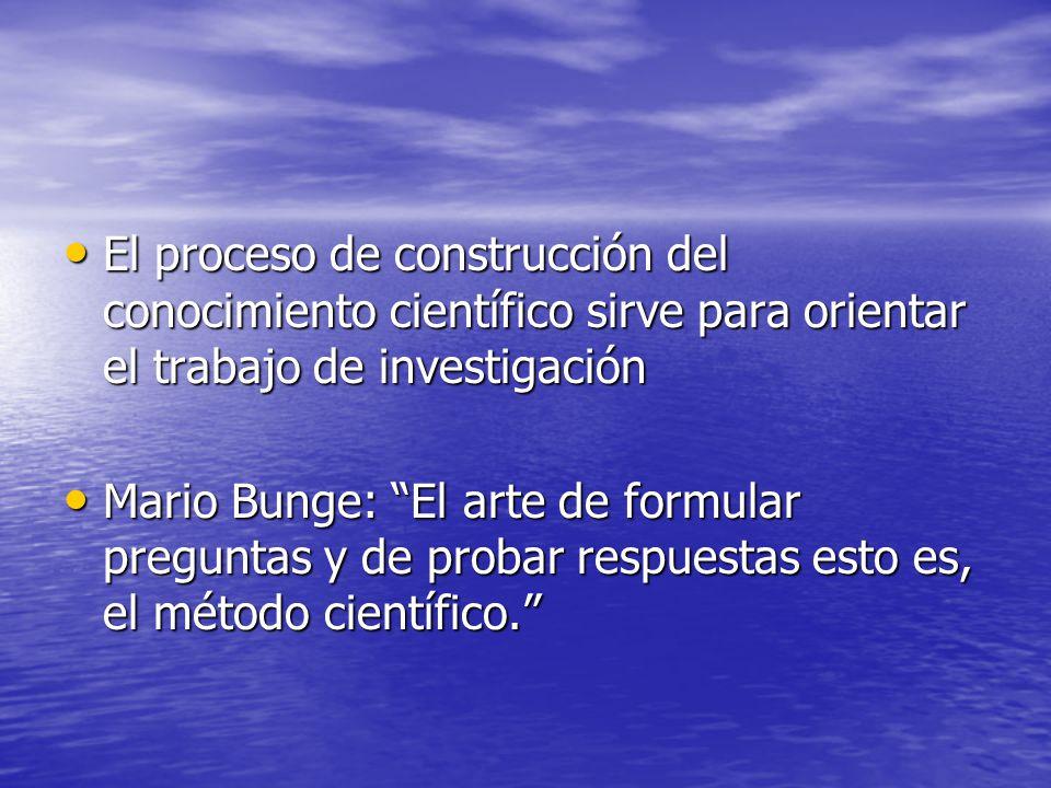 El proceso de construcción del conocimiento científico sirve para orientar el trabajo de investigación