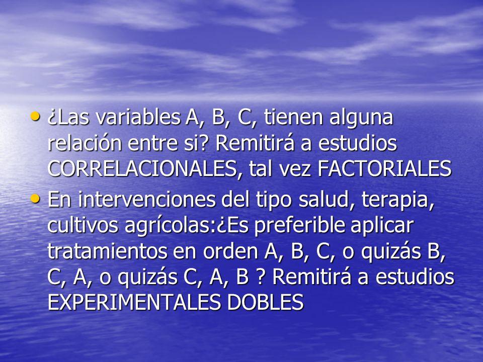 ¿Las variables A, B, C, tienen alguna relación entre si