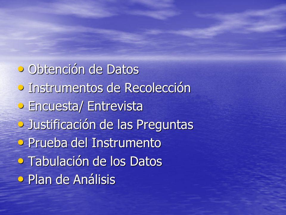 Obtención de Datos Instrumentos de Recolección. Encuesta/ Entrevista. Justificación de las Preguntas.