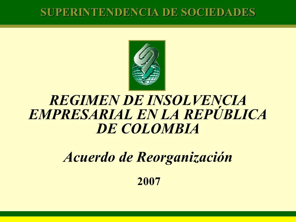 REGIMEN DE INSOLVENCIA EMPRESARIAL EN LA REPÚBLICA DE COLOMBIA Acuerdo de Reorganización