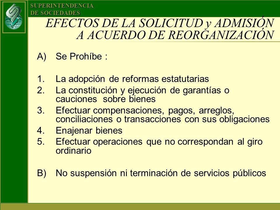 EFECTOS DE LA SOLICITUD y ADMISIÓN A ACUERDO DE REORGANIZACIÓN