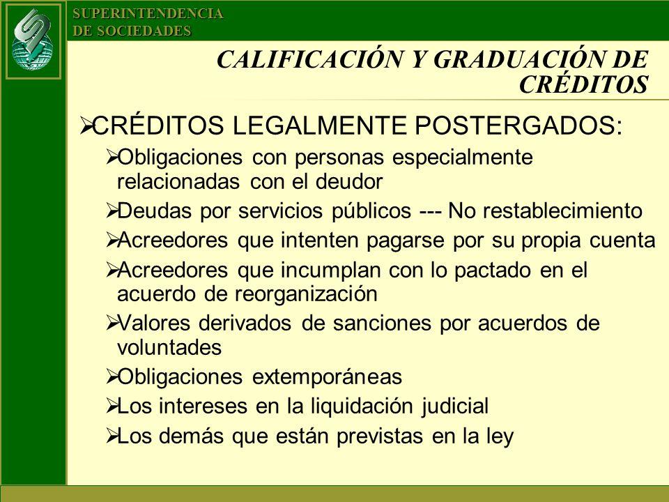 CALIFICACIÓN Y GRADUACIÓN DE CRÉDITOS