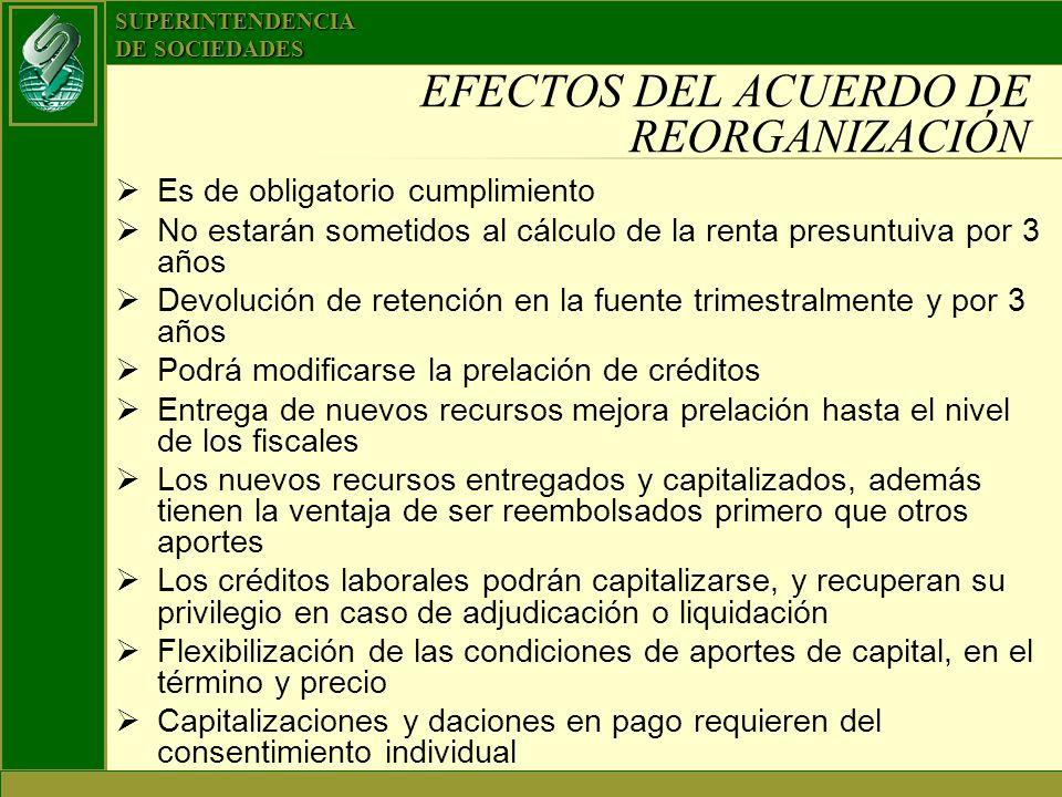 EFECTOS DEL ACUERDO DE REORGANIZACIÓN