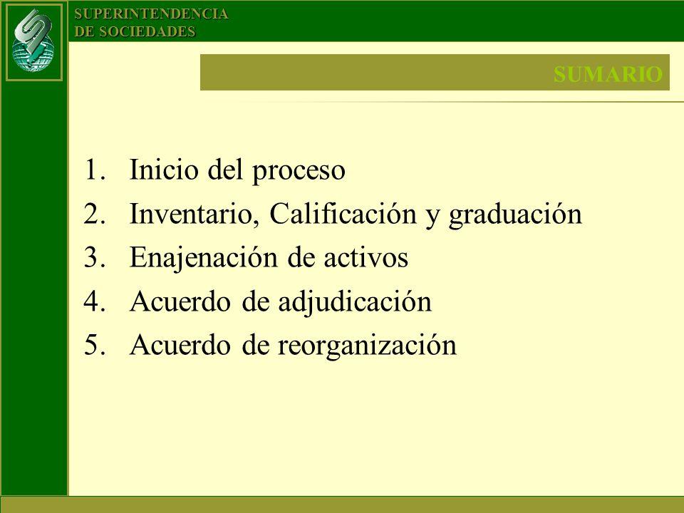 Inventario, Calificación y graduación Enajenación de activos