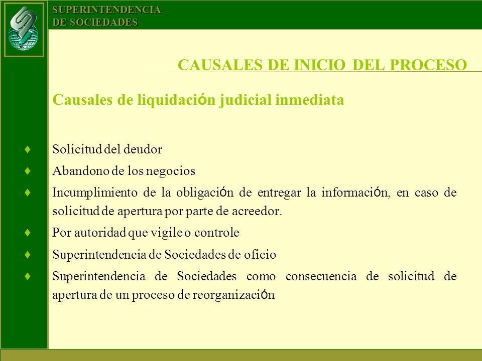 CAUSALES DE INICIO DEL PROCESO
