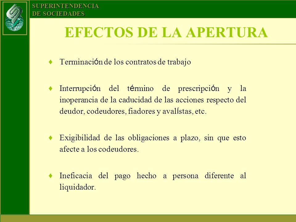 EFECTOS DE LA APERTURA Terminación de los contratos de trabajo