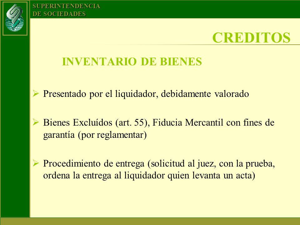 CREDITOS INVENTARIO DE BIENES