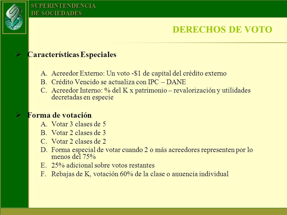 DERECHOS DE VOTO Características Especiales Forma de votación