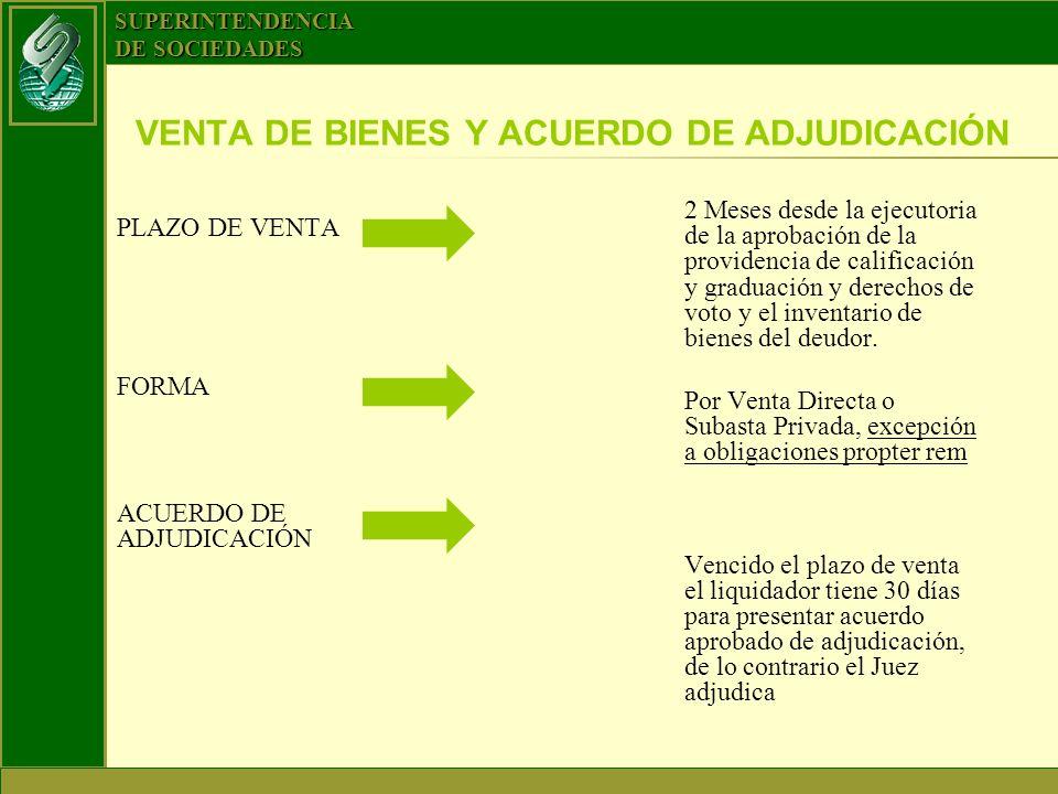VENTA DE BIENES Y ACUERDO DE ADJUDICACIÓN