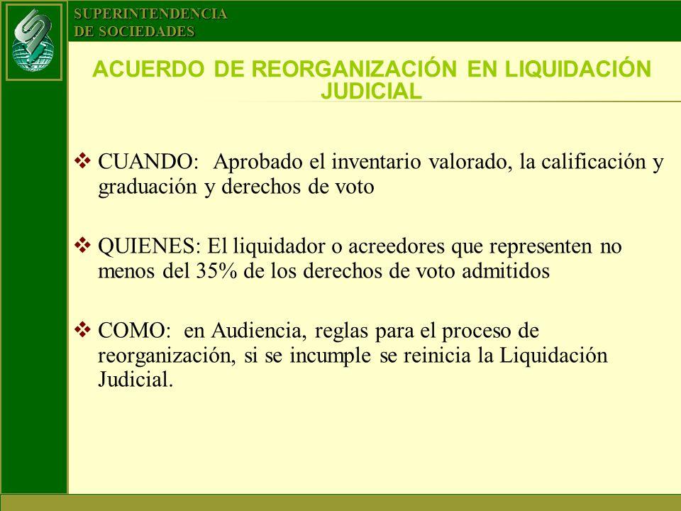 ACUERDO DE REORGANIZACIÓN EN LIQUIDACIÓN JUDICIAL