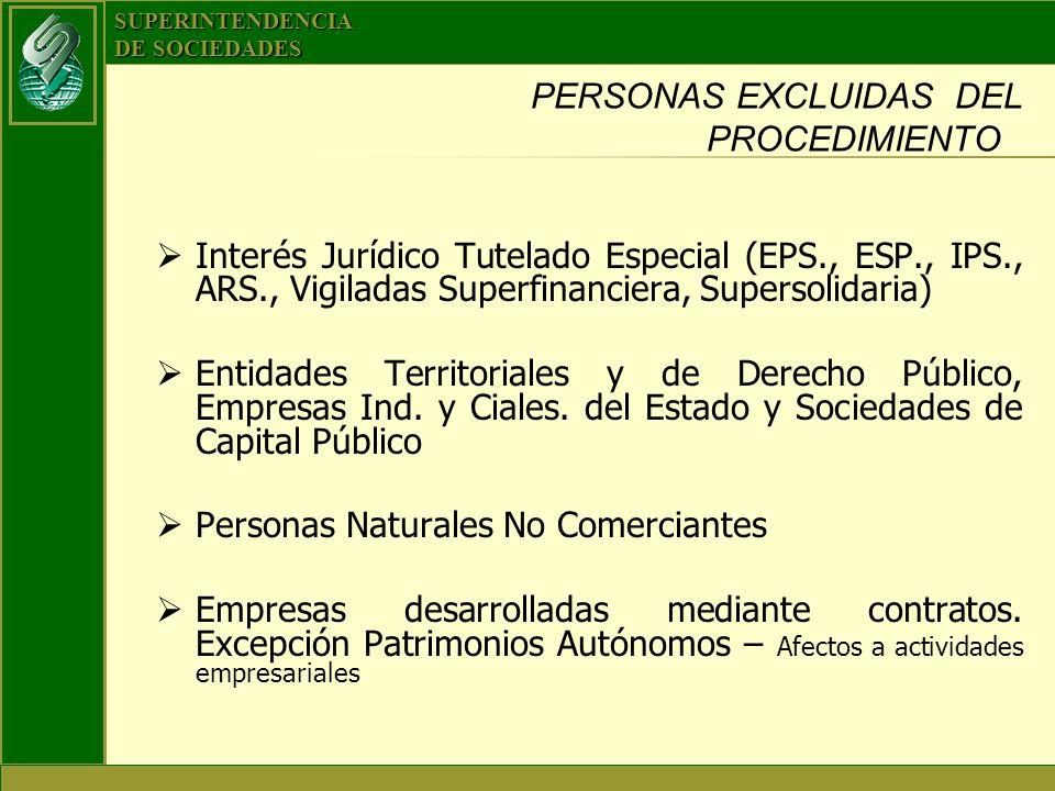PERSONAS EXCLUIDAS DEL PROCEDIMIENTO