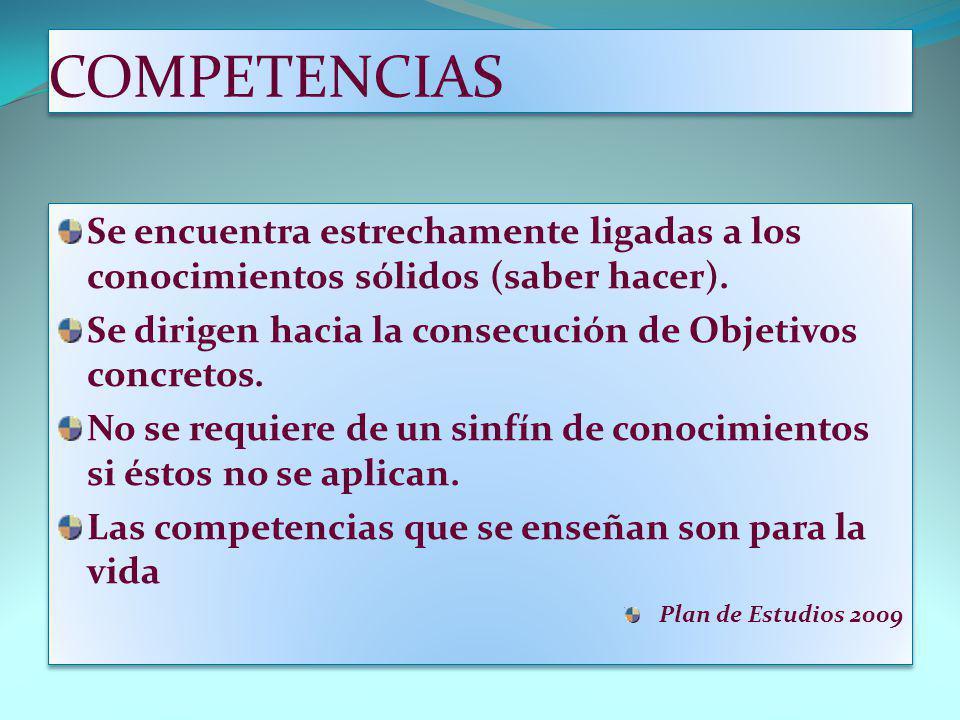 COMPETENCIAS Se encuentra estrechamente ligadas a los conocimientos sólidos (saber hacer). Se dirigen hacia la consecución de Objetivos concretos.