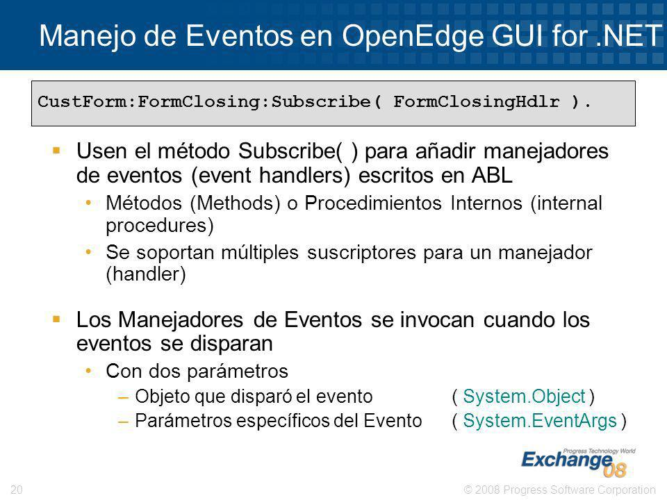 Manejo de Eventos en OpenEdge GUI for .NET