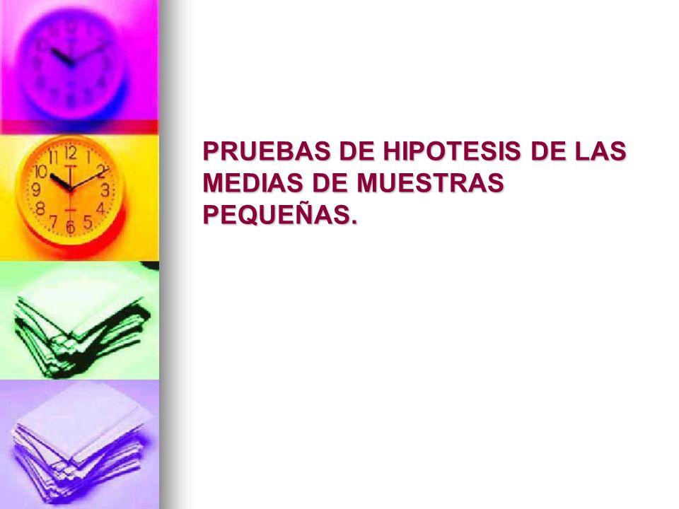 PRUEBAS DE HIPOTESIS DE LAS MEDIAS DE MUESTRAS PEQUEÑAS.