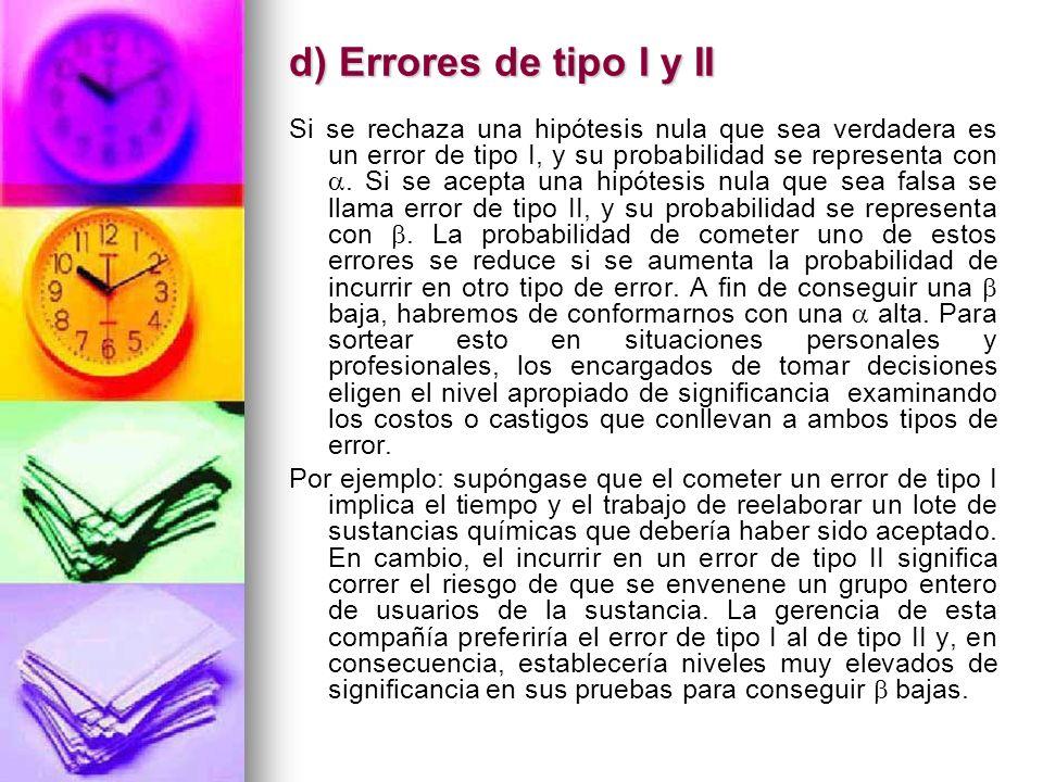 d) Errores de tipo I y II