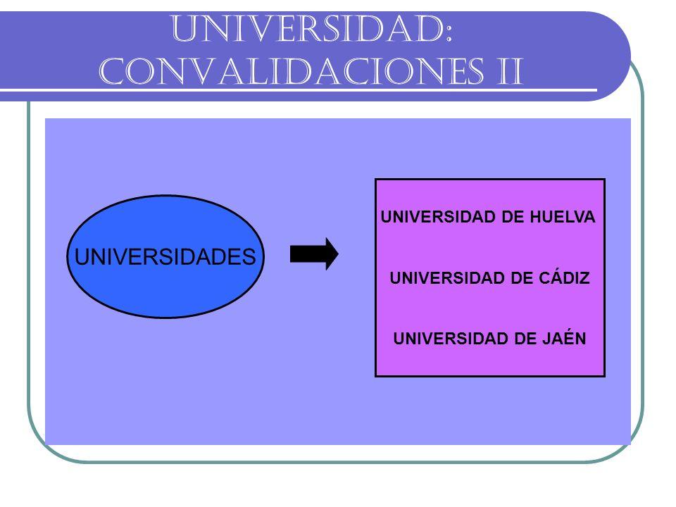 UNIVERSIDAD: CONVALIDACIONES II