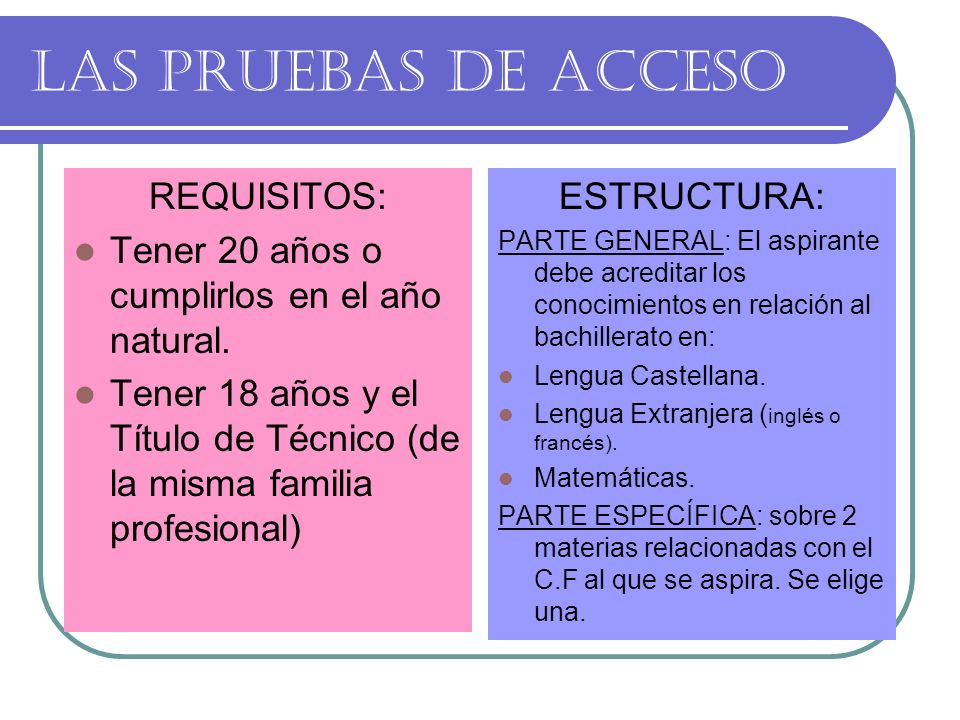 LAS PRUEBAS DE ACCESO REQUISITOS: