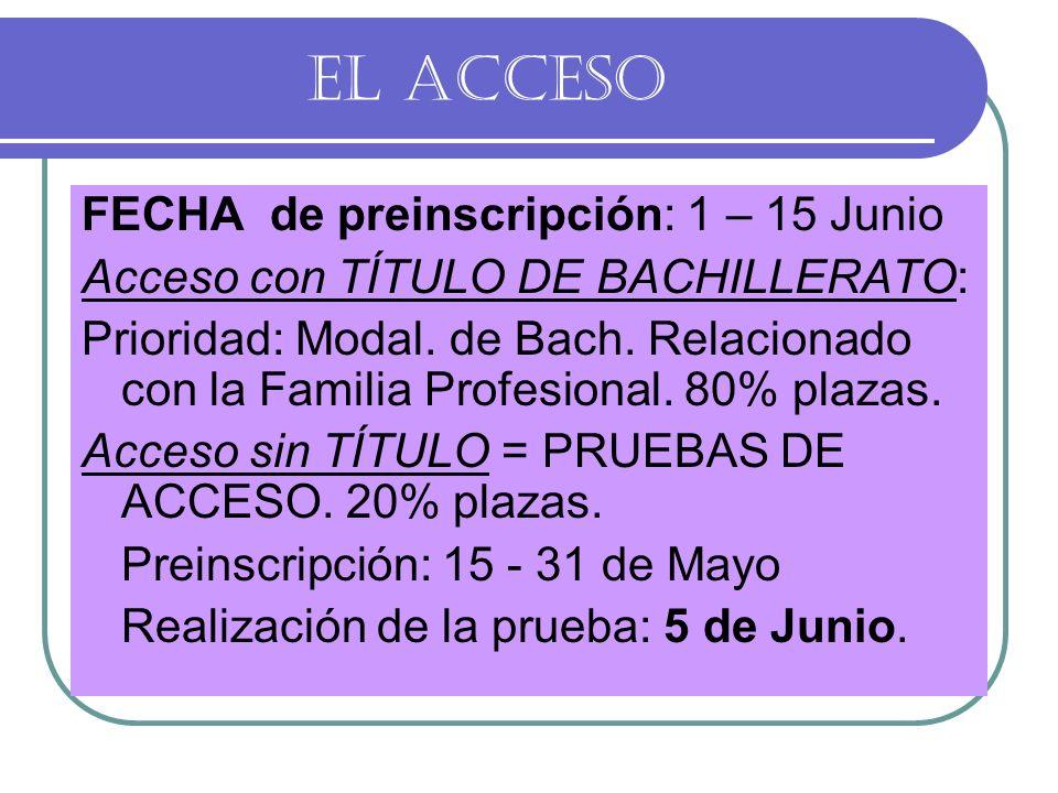 EL ACCESO FECHA de preinscripción: 1 – 15 Junio
