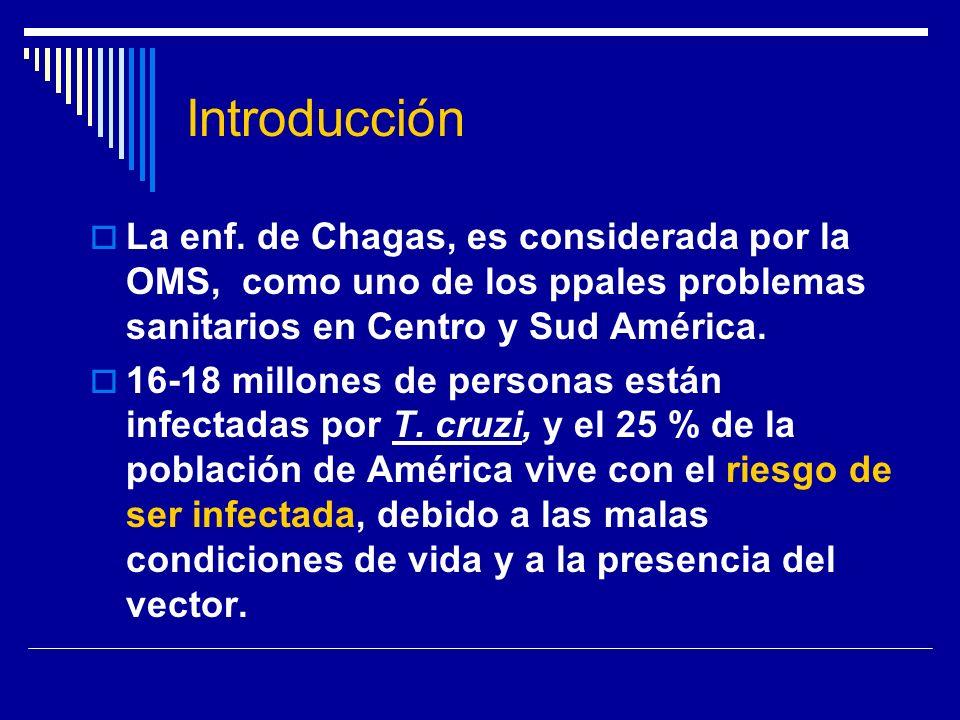 Introducción La enf. de Chagas, es considerada por la OMS, como uno de los ppales problemas sanitarios en Centro y Sud América.