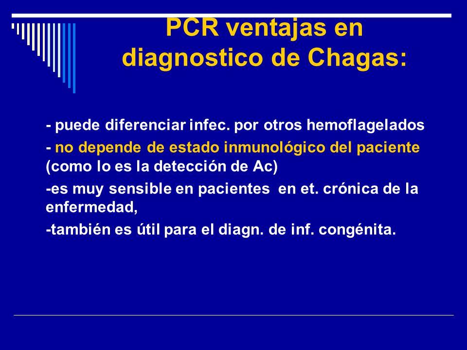PCR ventajas en diagnostico de Chagas: