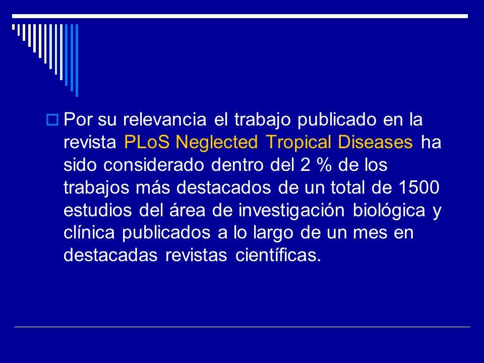 Por su relevancia el trabajo publicado en la revista PLoS Neglected Tropical Diseases ha sido considerado dentro del 2 % de los trabajos más destacados de un total de 1500 estudios del área de investigación biológica y clínica publicados a lo largo de un mes en destacadas revistas científicas.