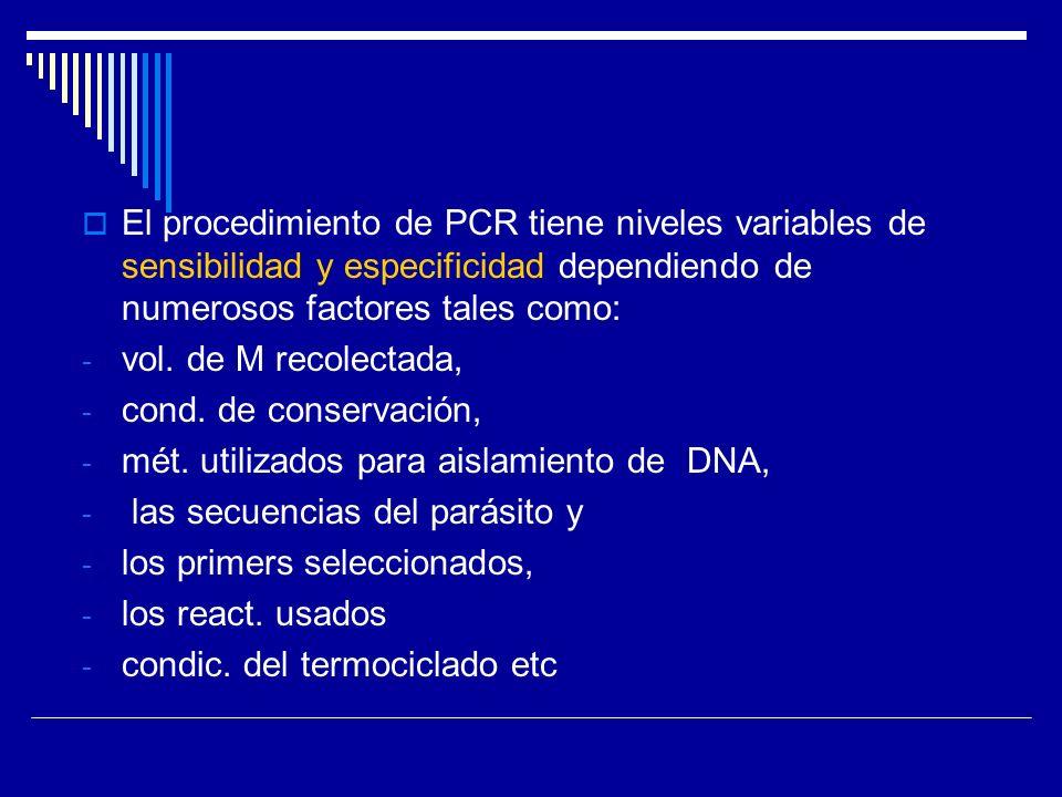 El procedimiento de PCR tiene niveles variables de sensibilidad y especificidad dependiendo de numerosos factores tales como: