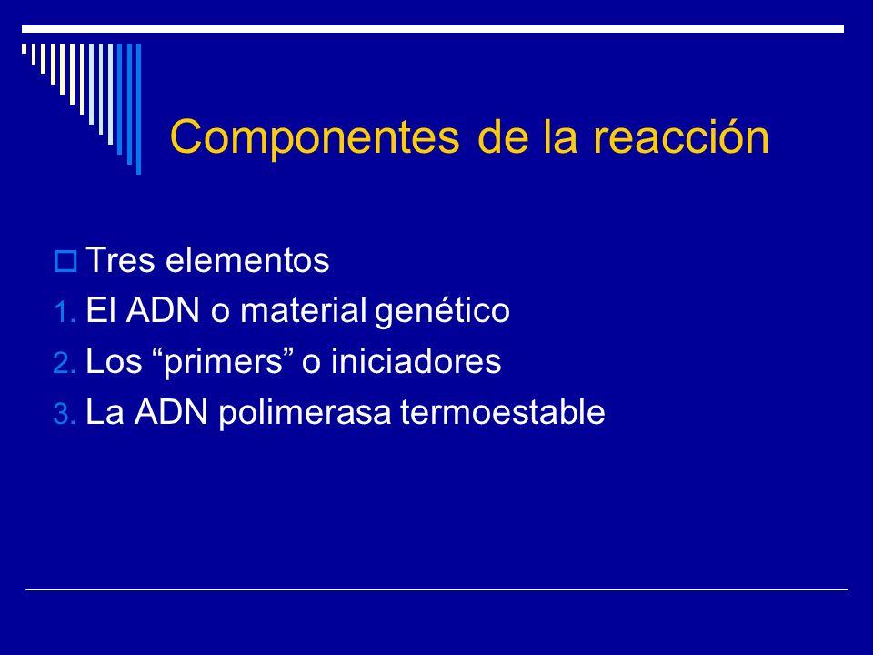 Componentes de la reacción