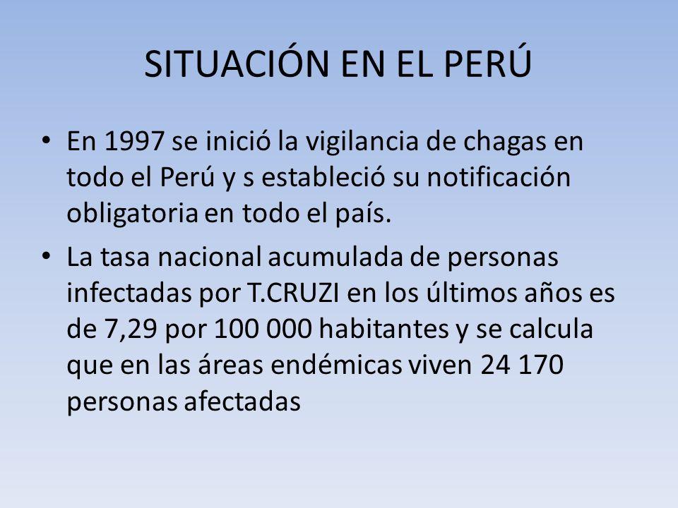 SITUACIÓN EN EL PERÚ En 1997 se inició la vigilancia de chagas en todo el Perú y s estableció su notificación obligatoria en todo el país.