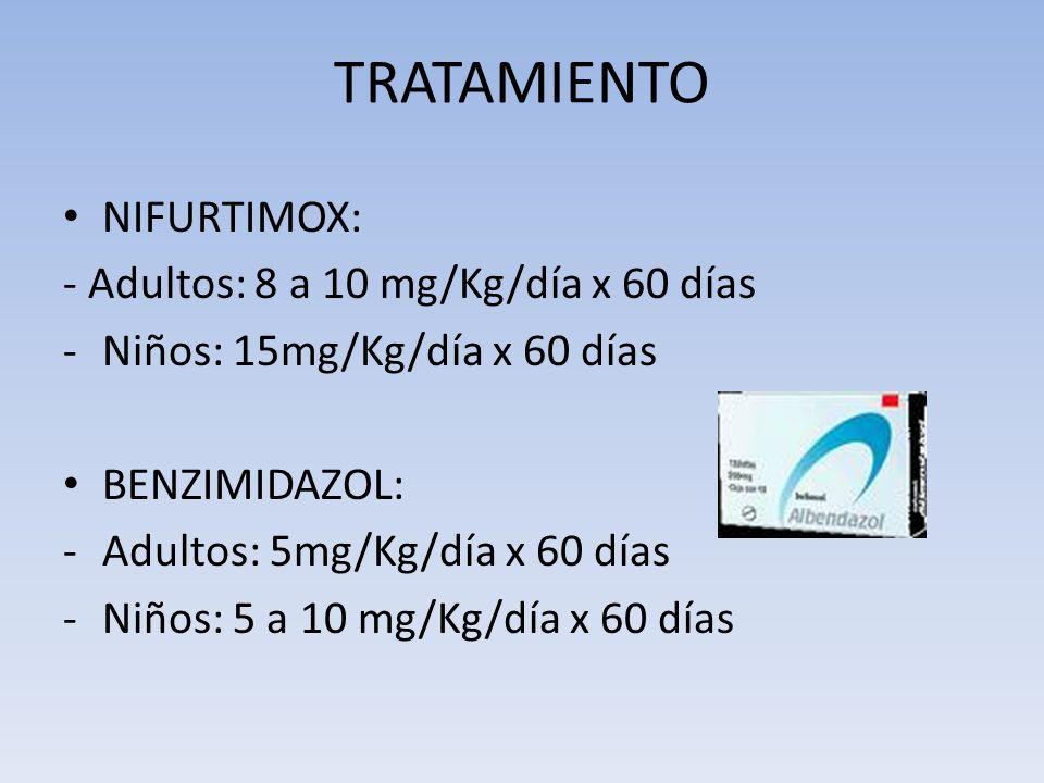 TRATAMIENTO NIFURTIMOX: - Adultos: 8 a 10 mg/Kg/día x 60 días
