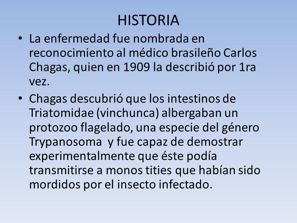 HISTORIA La enfermedad fue nombrada en reconocimiento al médico brasileño Carlos Chagas, quien en 1909 la describió por 1ra vez.