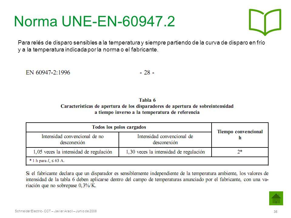 Norma UNE-EN-60947.2 Para relés de disparo sensibles a la temperatura y siempre partiendo de la curva de disparo en frío.